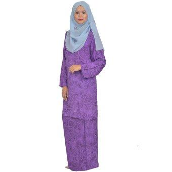 Harga Cotton & Silk - Baju Kurung Modern - 7551 - French Crepe Plain Printed - Kurung Modern Sunshine - A4(Purple)