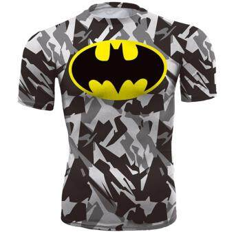 Harga Hequ new hot compressed T shirt superman and batman short sleeved T shirt quick drying clothes men's health movement Camouflage