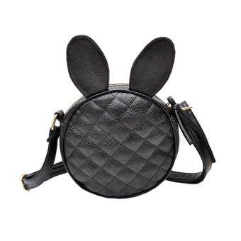 Harga Women Girl Rabbit Ear Round Leather Handbag Shoulder Messenger Mini Bag Black