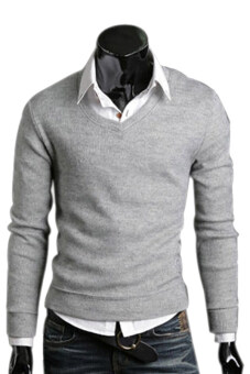 Harga Gracefulvara Men's Casual Slim Fit V-neck Knitted Cardigan Pullover Sweater Tops (Light Grey)