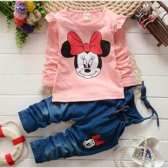 Harga Mickey Mouse Kids Tops With Jeans (Pink)