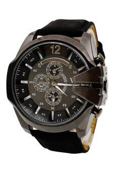 Harga V6 Leather Strap Watch (Black)