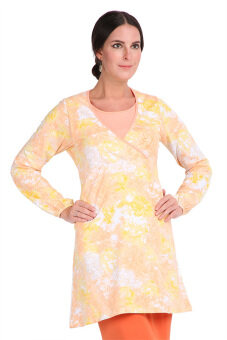 Harga Aqeela Muslimah Wear Abstract Kimono Top Peach