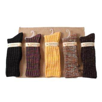 Harga Double Needle Cotton Thick Warm Winter Socks Women Long Socks 1 pairs (Multicolor)