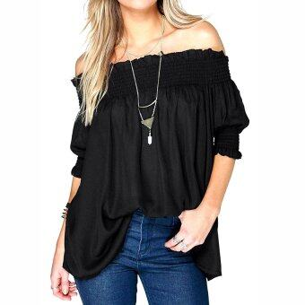 Harga Gracefulvara Womens Sexy Off Shoulder Half Sleeve Ruffles Loose Chiffon Top Blouse-Black