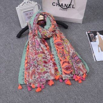Harga Women's National Wind Long Type Scarf Shawl Vintage Tassels Women Fashion Scarves Shawls