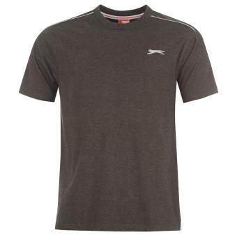 Harga Slazenger Mens Short Sleeve T-Shirt Top Tee Logo Plain Charcoal Marl