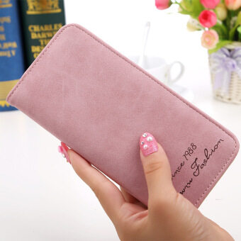 Harga Amart Fashion Women Slim Long Wallet Card Holder Bag Matte Leather Wallets Pink