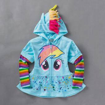 Harga 0-8Y Girls Kids Children Hoodie My Little Pony Wings Sweatshirt Coat Jacket, Light Blue Skater Dress