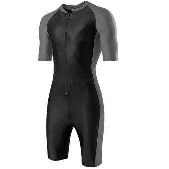 Harga One-piece Men's Swimming Diving suit SURFING SUIT Wetsuit Bathing suit Equipment Short sleeve Wetsuits (Black and Grey)