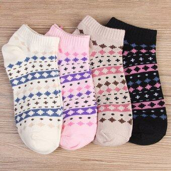 Harga 5 Pairs Casual Breathable Women Cotton Socks - National Style