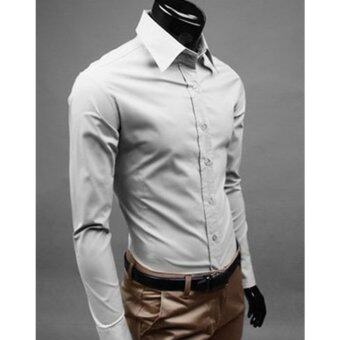 Harga Moonar Fashion Pure Color Style Slim Shirt Men Casual/Fornak Style Long-Sleeve Shirt M-XL (Light Grey)