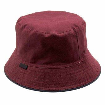 Harga Summer Causual Unisex Bucket Bush Hat Boonie Cap Fisherman Fishing Camping Travel-Wine Red