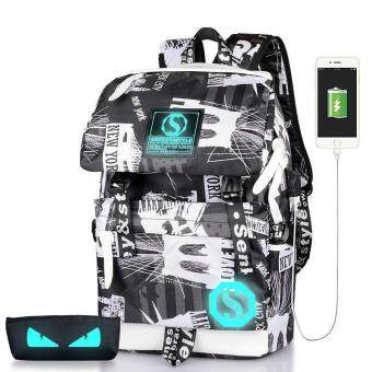Harga The New Korean Fashion Leisure Travel Bag Student Bag Academy Unisex Large Capacity 2pcs(White)