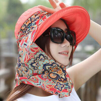 Harga Fashion lady sun hot sun hat covered face caps hats for women to travel hat summer hat girl