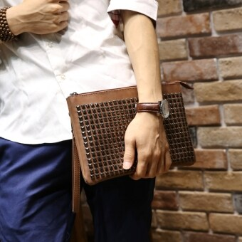 Harga The new Korean hand bag clutch wrist bag trend fashion business casual bag rivets envelope