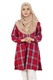 Harga Aqeela Muslimah Wear Career Plaid Red