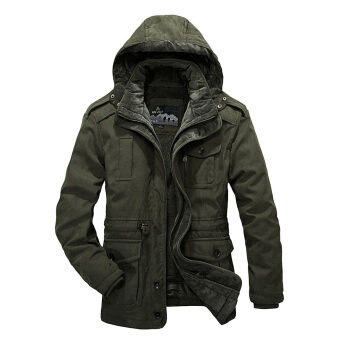 Harga AFS JEEP Men's Winter Parkas Cotton-Padded Casual Hooded Thick Warm Jacket (Army Green)
