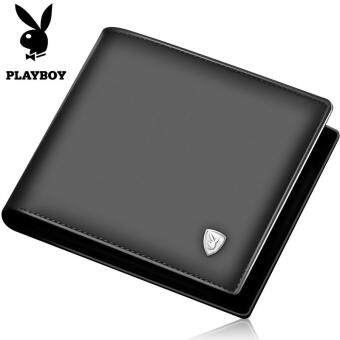 Harga Playboy Wallet Men Short Leather Wallet Head Cross Leather Wallet Wallet Business Men's Bag (Black)