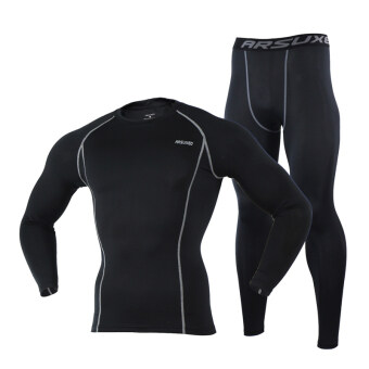 Harga Thermal Warm Up Fleece Compression Cycling Base Layers Shirts Running Sets Jersey Sports Suits Clothing Top and Pants (Black)
