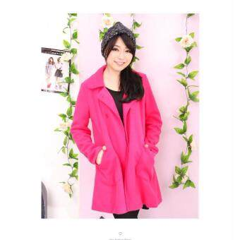 Harga LuvClo (M,L) Korean Style Ladies Trench Coat (Dark Pink)