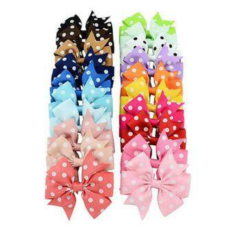 Harga 40pcs Bowknot Polka-dot Hair Bows with Clips Grosgrain Ribbon Hair Accessories