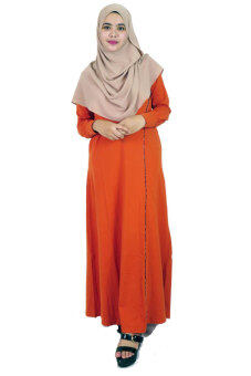 Harga Aqeela Muslimah Wear Jubah with Piping Orange