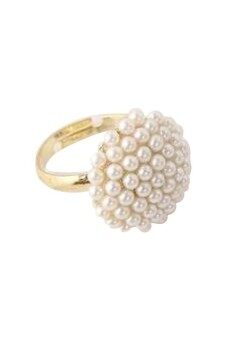 Harga Adjustable Pearl Flower Rings White
