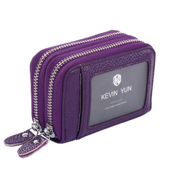 Harga KEVIN YUN Women ID Card Holder Leather Double Zipper Ladies Credit Card Case Wallet Violet