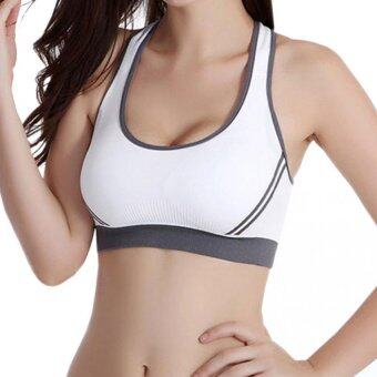 Harga Sports Bra Underwear Steel Ring Fall Bra Seamless Bra(White)
