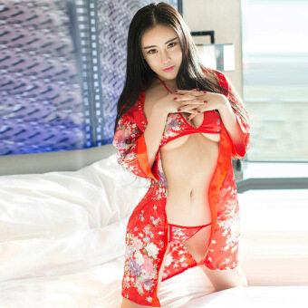 Harga MeiNiang Brand lingerie Japanese kimono printing size deep V Luru uniform temptation suit role Hotel 1003