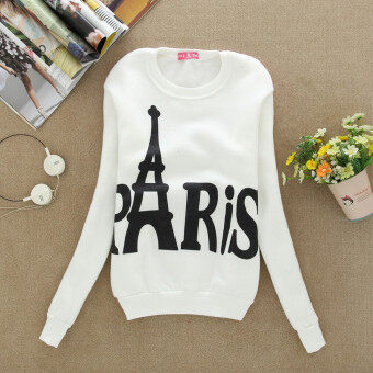 Harga Lady Paris Eiffel Shaped Fashion Hooded Thin Long-sleeved Sweaters(Color:White)