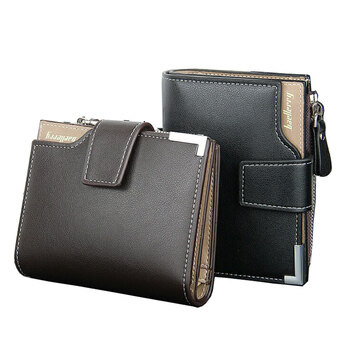 Harga Men Short Wallets Balck Brown Bifold Wallet Mens Brand PU Leather Card holder Coins With Zipper Wallet Purses Pockets