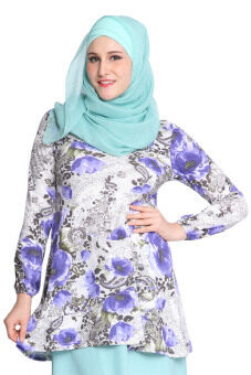 Harga Aqeela Muslimah Wear Floral Layer Top Purple