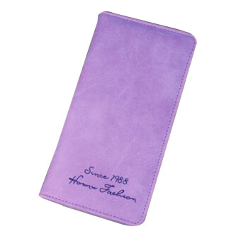 Harga Amart Fashion Women Slim Long Wallet Card Holder Bag Matte Leather Wallets Purple