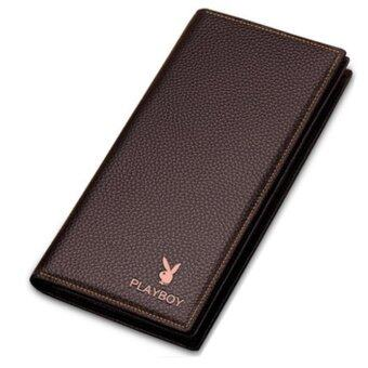 Harga New Playboy Men Leather Wallet Horizontal Bifold Playboy Genuine Men Wallets Free Gift Box (Brown)