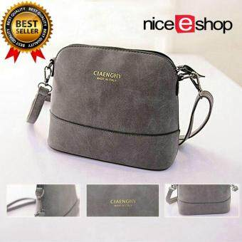 Harga niceEshop Women Vintage Frosted PU Leather Messenger Bag, Dark Grey(International)