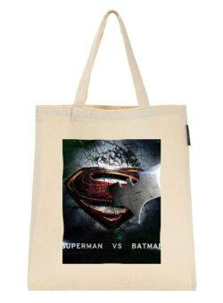 Harga Cotton Canvas Shopping Bag Batman v Superman (3) For Shoulder Tote Shopper Bag Creamy White Eco Friendly Gift