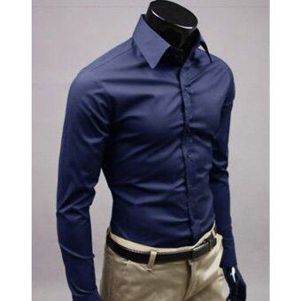 Harga Moonar Fashion Pure Color Style Slim Shirt Men Casual/Fornak Style Long-Sleeve Shirt M-XL (Dark Blue)