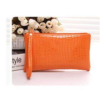Harga HLDAFA 2017 New Ladies Bag Trend Long Section Crocodile Pattern Hand Bag Mobile Phone Wallet (Orange)