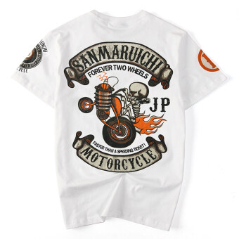 Japanese-style tide brand skull T-shirt men summer Plus-sized loose European and American hip hop motorcycle Punk Style hip-hop cotton short-sleeved (White)