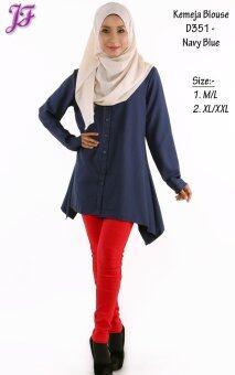 JF Fashion Kemeja Blouse D351 (Navy-Blue) - 2