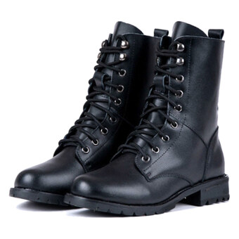 Jo.In Women's Cool Black PUNK Military Army Knight Lace-up Short Boots Shoes (Multicolor)