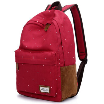 Junior high school students canvas shoulder bag handbag korean version of the influx of college wind backpack schoolbag korean cute little fresh (Red)