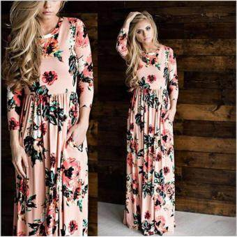 Harga JVIVI Fashion Rose Floral Printed Long Dress Women Casual O-Neck3/4 Sleeve Loose Long Maxi Dress 2017 Summer Beach Dress (Pink)