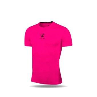 Kelme K15Z731 Men Quick-drying Unitard Pro Thin Short Sleeve High-elastic Wicking Gym Sport T-shirt Straitjacket (Fluorescent Pink)