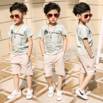 Harga Kids 5 boys summer suit 2017 New style 7 children's large children9 short-sleeved Xia Baobao 12 years old casual shorts (Beans green)