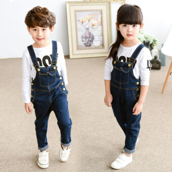 Kids' Korean-style Leisure Denim Cloth Rompers