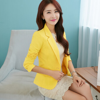 KKYC Korean-style Slim fit long-sleeved small suit female coat (Yellow Spot) (Yellow Spot)