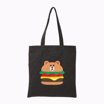 Harga Korea Design Brown Burger Canvas Tote Bag